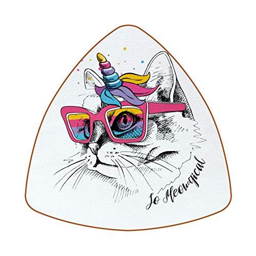Posavasos triangulares para bebidas, diseño de gato unicornio con gafas de sol rosas de cuero para proteger muebles, resistente al calor, decoración de bar de cocina, juego de 6