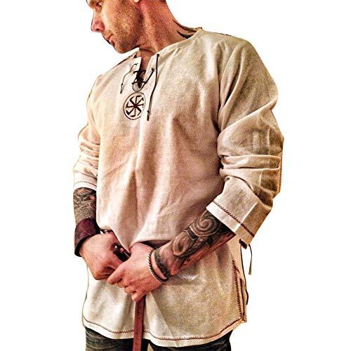 Men's Fashion Cotton Linen Shirt Long Sleeve Solid Color Ethnic Beach Yoga Top Khaki M