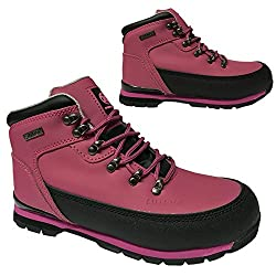 Pink coloured safety hiking boots for women