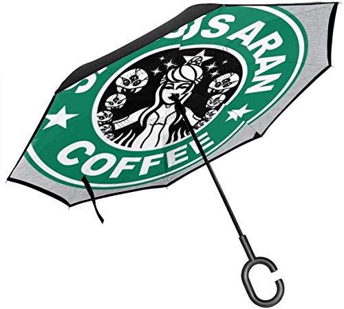 qinhanxinchengxianlibaihuodian Metroid Starhunt Samus Aran Kaffee Double Layer Inverted Regenschirm für Auto-Reverse-Folding den Kopf gestellt C-förmigen Hände - Leicht und Winddichtes & ndash