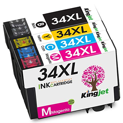 Kingjet 34XL Ersatz für Epson 34 XL Druckerpatronen Kompatibel mit Epson WorkForce Pro WF-3725DWF WF-3720DWF (Schwarz/Cyan/Magenta/Gelb)