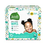 Seventh Generation Baby Wipes, Free & Clear Unscented and Sensitive, Gentle as Water, with Flip Top Dispenser, 384 count (Packaging May Vary)