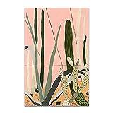 U/N Moda niña Plantas Hojas ilustración Pared Arte Lienzo Pintura Carteles nórdicos e Impresiones Cuadro de Pared para Sala de estar-10