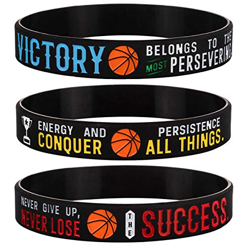 Sainstone Basketball Silicone Motivational Wristbands, Rubber Inspirational Quote Bracelets - Power of Faith for Men Women Sports Birthday Party Cheer Gifts Supplies Favors (3-Pack)