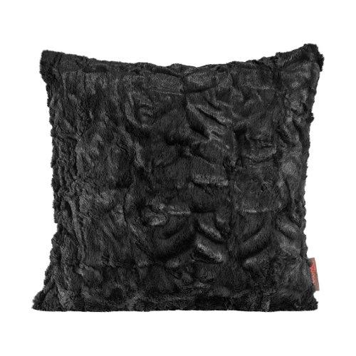 Magma Fluffy Housse de coussin imitation fourrure Environ50 x 50 cm - Aspect fausse fourrure -Plusieurs coloris disponibles - 1 pièce., Microfibre, Noir 01, 50 cm x 50 cm