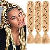 MYCHANSON Jumbo Braiding Hair Long Kanekalon Synthetic High Temperature Fiber African Twist Braids (5pcs Light Brown)