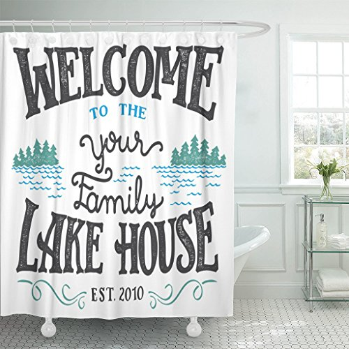 Emvency Shower Curtain Welcome to The Your Family Lake House Sign Replace Waterproof Polyester Fabric 60 x 72 inches Set with Hooks