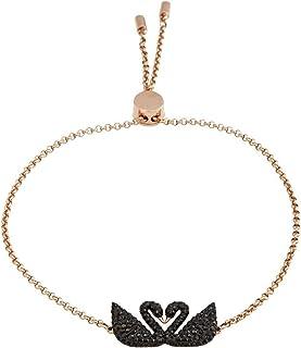 SWAROVSKI Iconic Swan Black Rose-Gold Tone Plated Bracelet