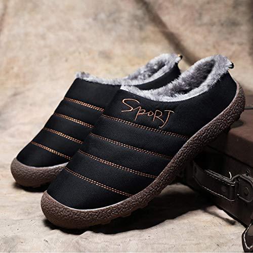 Zapatillas Zapatos térmicos casa Zapatillas de Interior Zapatillas Cortas de Felpa Unisex de Gran tamaño 48-2158-black_14