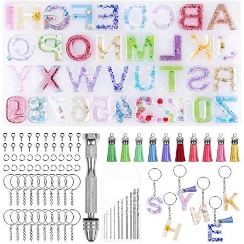 Molde Silicona Resina,Molde de Resina Epoxi con Número de Letras,Moldes para Resina...