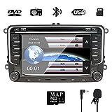 NVGOTEV Autoradio navigatore GPS compatibile per VW golf, 17,8 cm double DIN Head Unit 2 DIN autoradio con lettore CD DVD supporto GPS, USB, SD, FM AM RDS, Bluetooth (7 pollici)