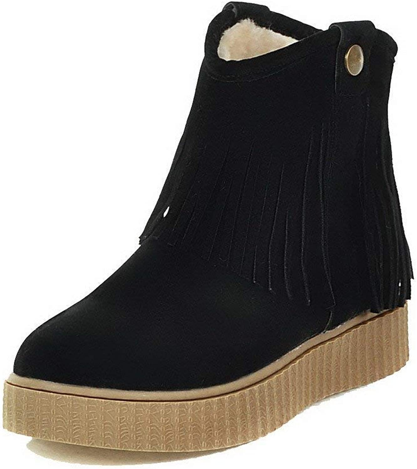 PRETTYHOMEL Women's Frosted Closed Round Toe Solid Low-Top Low-Heels Boots