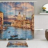 LISNIANY Conjunto De Ducha Cortina Alfombra,Venecia góndola en el Famoso Canal Grande con basílica di Santa Maria Della Saludo en la Noche,Uso en baño, Hotel