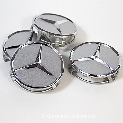 Car Parts - 4 tapas centrales plateadas para tapacubos con el logotipo de Mercedes, 75 mm, para llantas de aleación