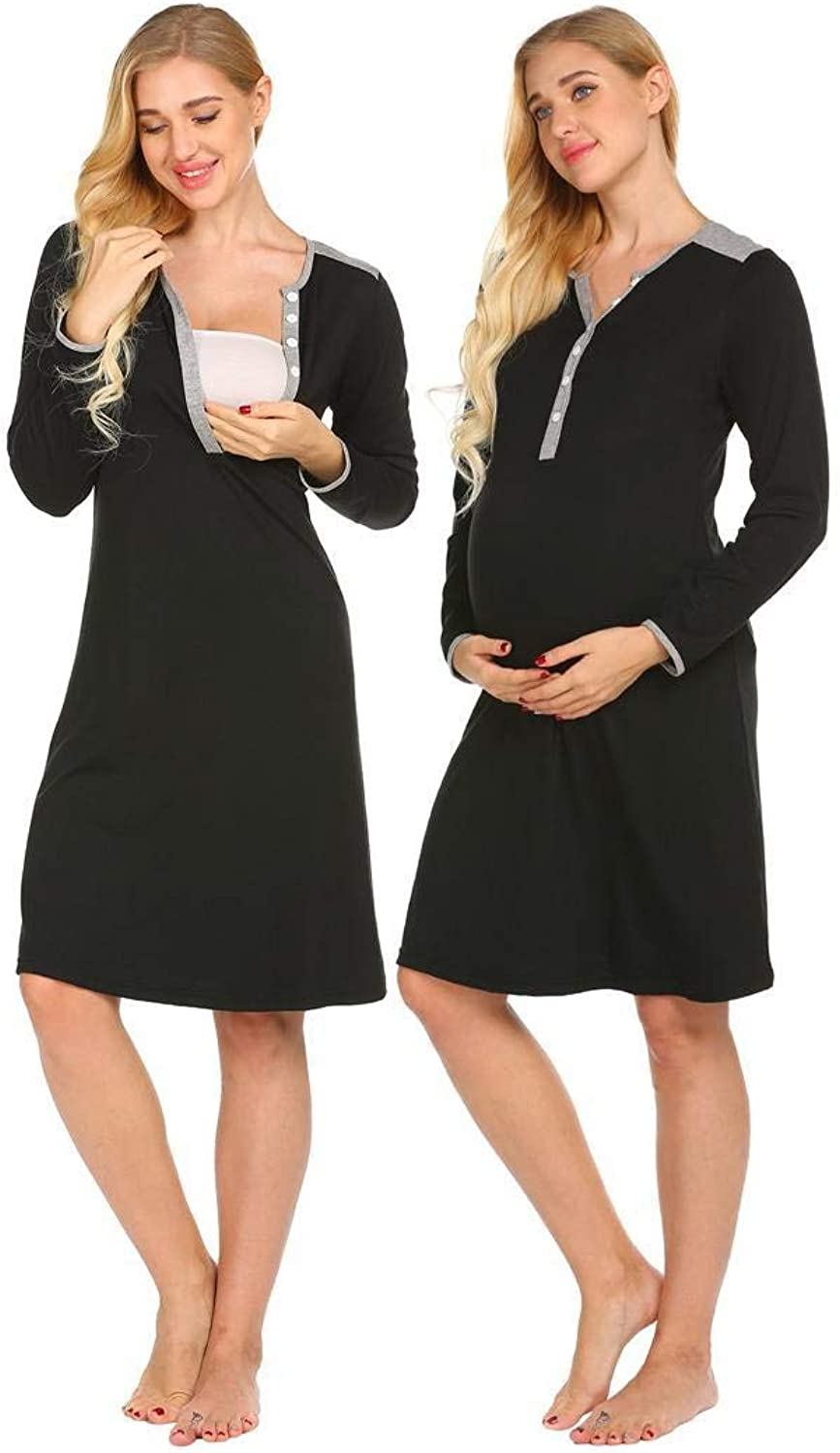 Imposes Women Nursing Nightgown Maternity Dress Long Sleeve Sleepwear for Breastfeeding SXXL