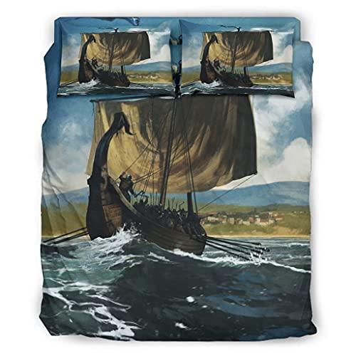Wandlovers Juego de cama de 4 piezas, diseño de barco vikingo, impresión ultrasuave, funda nórdica y fundas de almohada, faldón de cama, color blanco, 240 x 264 cm