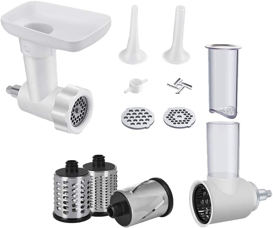 INNOMOON Meat Grinder &Slicer Shredder Attachment Pack for KitchenAid Stand mixer, with Sausage Filler Tube, 2 in 1