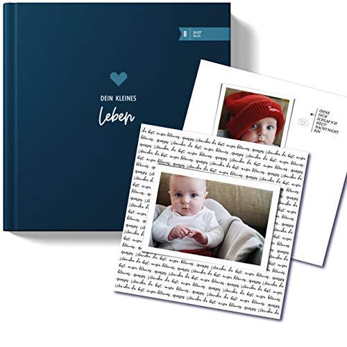 heaven+paper Babyalbum 'Paul' für Jungen I Babybuch das erste Jahr zum Eintragen I Babytagebuch und Fotoalbum in blau, elegant mit Hardcover