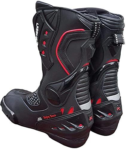 BI ESSE - Stivali Stivaletto Moto, modello Sportivo Racing Pista, Pelle Professionale Traspirante (Nero / Rosso, 41)