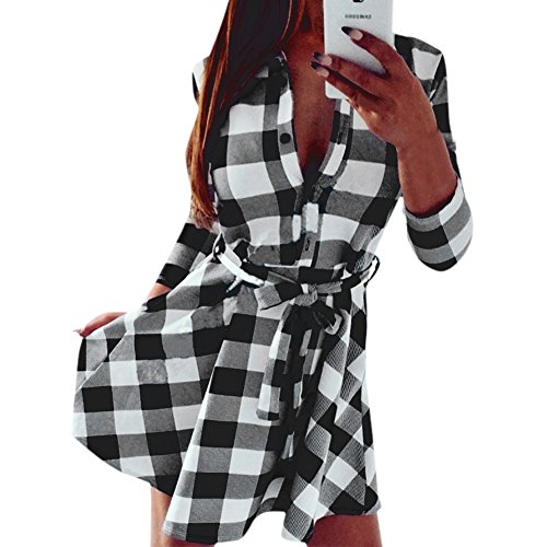 West See Frauen Dünne Kleider 3/4 Hülse Bluse Kariert Plaid V-Ausschnitt Shirts Mini Kleid mit Gürtel (DE 38, Weiß)