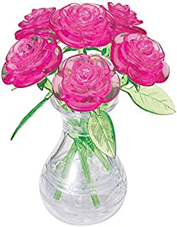 BePuzzled Original 3D Crystal Jigsaw Puzzle - Pink Roses in Vase DIY Assembly Brain Teaser, Fun Model Toy Gift Flower Deco...