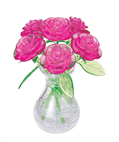 BePuzzled Original 3D Crystal Jigsaw Puzzle - Pink Roses in Vase DIY Assembly Brain Teaser, Fun Model Toy Gift Flower Decoration for Adults & Kids Age 12 and Up, 47 Pieces (Level 1)