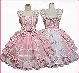 ZXCB Mujeres Alice Lolita Ángel Pink Cotton Princess Vestido Trayectoria Gótico Tank Vestido Traje Lindo Anime Maid Capa Vestido para niñas