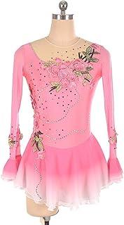 Best 4U Ice Figura Dress Pattinaggio per Le Ragazze a Maniche Lunghe Donna in Rilievo Abiti Senza Schienale