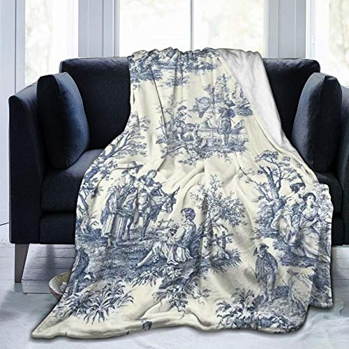Daisylove Manta ultra suave de microforro polar duradero Toile De Jouy, manta suave y cálida para cama, cama, sofá, oficina, sala de estar, decoración del hogar, 152 x 122 cm