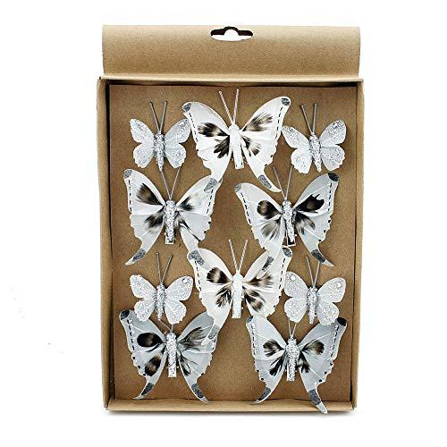 TGG 10 St. Schmetterlinge Mix mit Clip 2 Größen grau mit Silberglitter 808 !!!