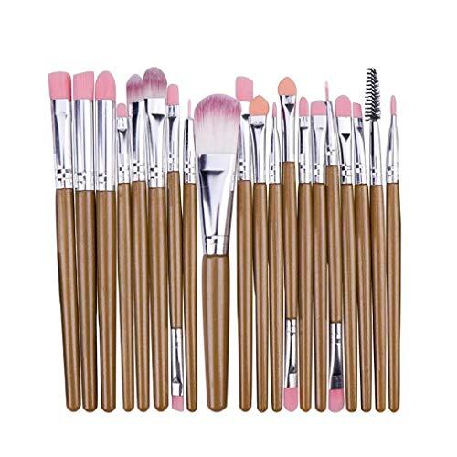 MakeUp Penseelset (20 stuks) - Make-up kwastenset - cosmetica-penseel - Grootte 15 cm - Synthetisch haar - Schminkpenseel gemaakt van plastic - Verschillende kleuren - bont - Oogschaduwkwast etc. beige-zilver