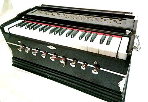 Indischer Maharadscha Harmonium Nr. 5200N–9Stop–Sangeeta–3½ Oktave–mit Kupplung, mit Buch & Tasche–dran zu A440–Mahagoni Farbe