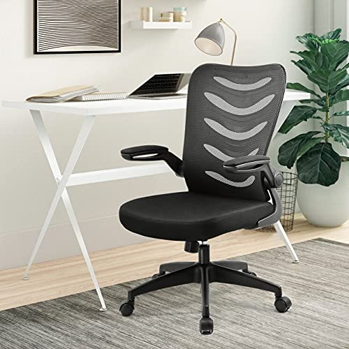 ComHoma Office Chair Ergonomic Desk Chair Mesh Computer Chair with Flip Up Arms Lumbar Support Adjustable Swivel Mid Back for Home Office Black
