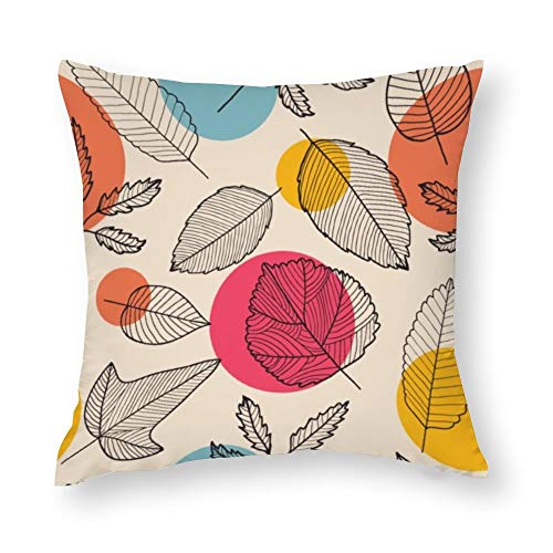 YY-one Fundas de almohada decorativas con diseño de hojas sin costuras, dibujadas a mano, decorativas, de algodón, para sofá, silla, asiento, cuadrado, 50,8 x 50,8 cm