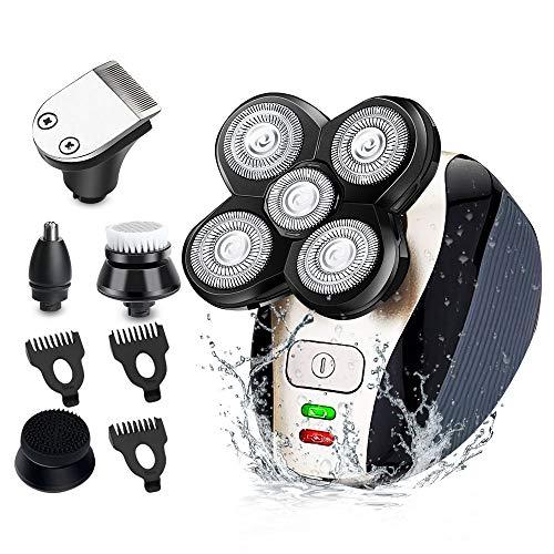 Glatzen Rasierer Herren Elektrisch,MANLI kopfrasierer herren 5 IN 1 Nass&Trockenrasierer USB Rotationsrasierer,Elektrorasierer mit Haarschneidemaschine und Nasenhaarschneider -IPX7 Wasserdicht