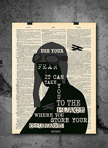 Amelia Earhart - Use Your Fear It Can Take You Silhouette Art - Authentic Upcycled Dictionary Art Print - Home or Office Decor (D197)