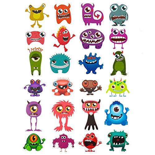 Oblique-Unique® 24 lustige Bunte Monster Sticker Aufkleber