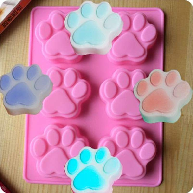 Bingirl Dog Cat Paw Print Silicone Bakeware Mould Chocolate Mold Cookie Candy Soap Resin