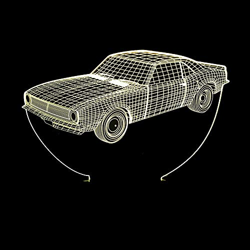 Lámpara Escritorio Lámpara Automotriz LED Lámpara de coche degradado Colorido 3D Estereoscópico Táctil Remoto USB Noche Luz de noche Cama Creative Decorative Desk Cumpleaños Vacaciones Regalos 20 * 13