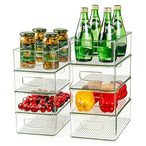 Juego de 8 contenedores organizador de refrigerador, 4 grandes y 4 medianos apilables de plástico con asas para congelador, cocina, gabinete, despensa, estante de almacenamiento de alimentos, sin BPA
