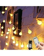 Lichtsnoer met bollen, 15 m, 100 leds, insteken, 8 modi, met afstandsbediening en timer, waterdichte verlichting voor binnen en buiten, feest, kerstversiering