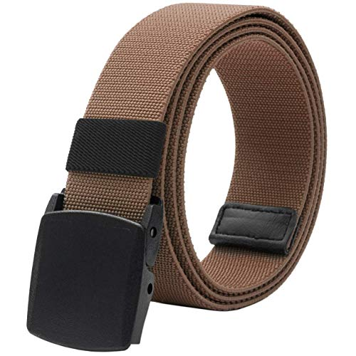 Men's Elastic Stretch Belt, Military Tactical Belts Breathable Canvas Web Belt for Men & Women with No Metal Plastic Buckle for Work Outdoor Sports, Adjustable for Pants Shorts Jeans Below 46' (Brown)