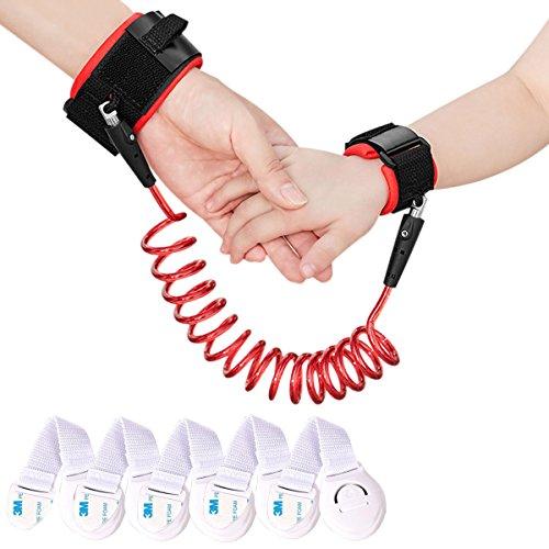 Xcellent Global 2.5m Enfant Anti Lost Wrist Link Harness Strap Rope Leash Safety Walking Hand Belt avec 5 Pack Verrous de sécurité pour enfants HG205