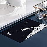 Carvapet Alfombras Cocina Lavable Antideslizante El astronauta de la caminata espacial mira la superficie galáctica a través del telescopio Alfombrilla Alfombra de Baño Alfombrillas Cocina 50x80 cm