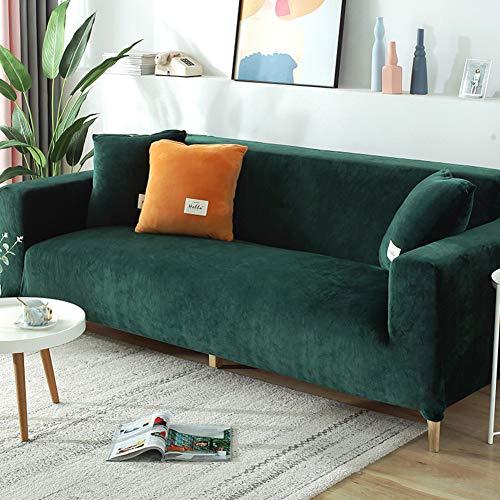 Zu Loveseat Arm-Stuhl,Stretch Sanft Easy Fit Couchbezug,Samt Sofa Abdeckung,Elastische Dick Möbelschutz Sofabezug Grün 2 Sitzer