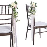 Ling's moment Wedding Aisle Chair Decorations Set of 8 Blush Ivory Floral Pew Flowers Wedding Flowers