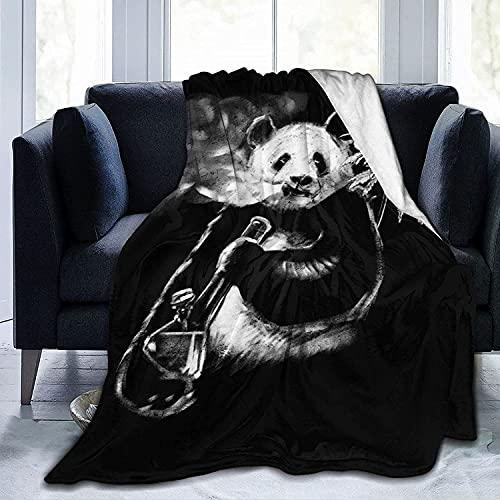 Manta hecha a mano con diseño de panda de franela para bebés, niños, hombres, mujeres, suaves y cálidas, tamaño Queen y mantas para sofá cama, sofá de viaje, 50 x 40 i