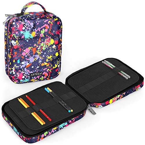 Arteza Artist Pencil Case Organizer, 64 Elastic Slots, Paint Splatter Pattern, for Adults, Girls, Boys, Big Capacity, Holds Up to 205 Pencils, Suitable for Pens & Markers