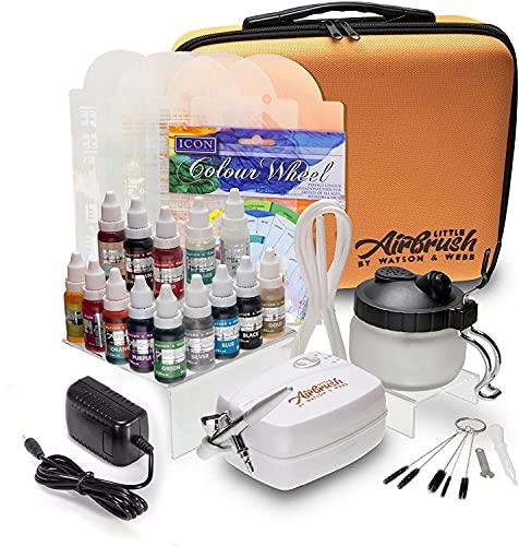 Watson & Webb Airbrush-Kuchen-Dekorier-Set mit 13Farben, Schablone, Airbrush-Reinigungslösung und Topf, Reinigungsbürsten, Farbkarte etc.