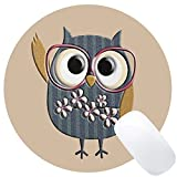 Wknoon Cute Owl Design Art Round Mouse Pad